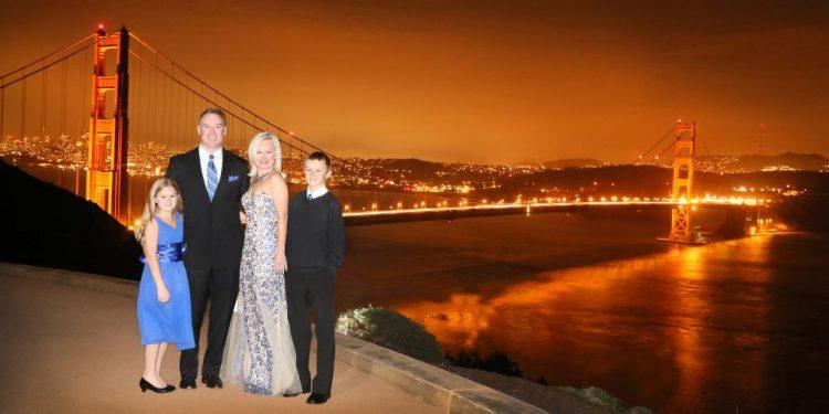 With Golden Gate bridge at night