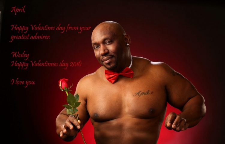 Muscled Man with Rose and verse