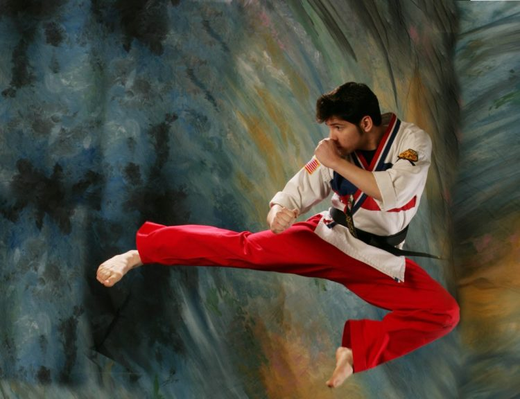 In karate action pose