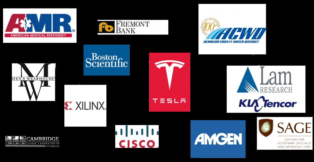 Logos from Companies -American Medical Response, Fremont Bank Alameda County Water District, Men's Wearhouse, Boston Scientific Tesla, Lam Research, KLA Tencor, Xilinx, Cambridge Laser Laboratories, Cisco, Amgen, Sage