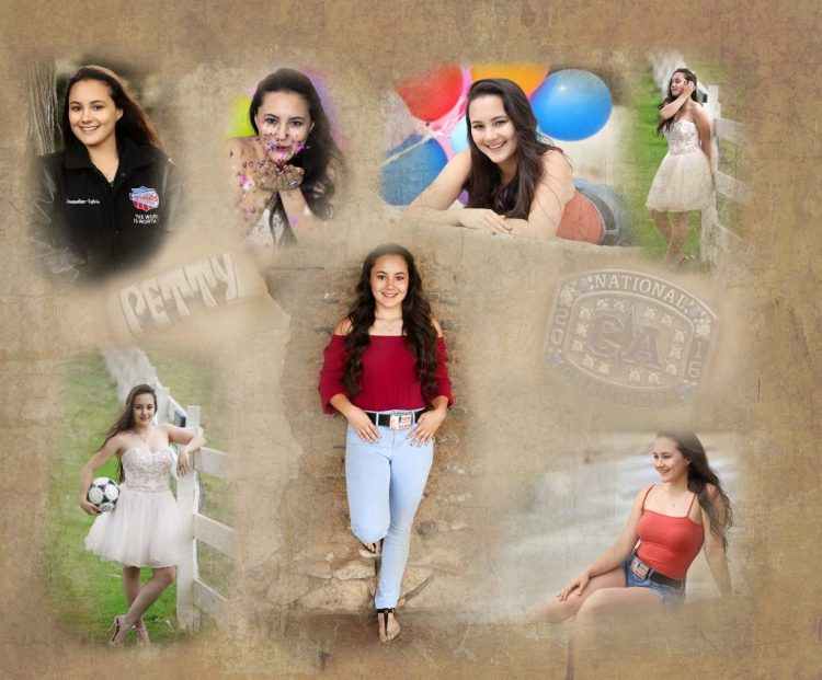 Senior collage with background texture